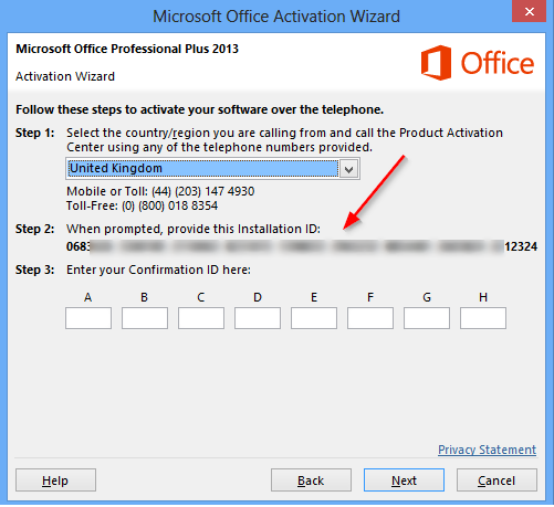activating microsoft office over the telephone