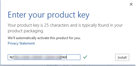entering microsoft office 2013 product key