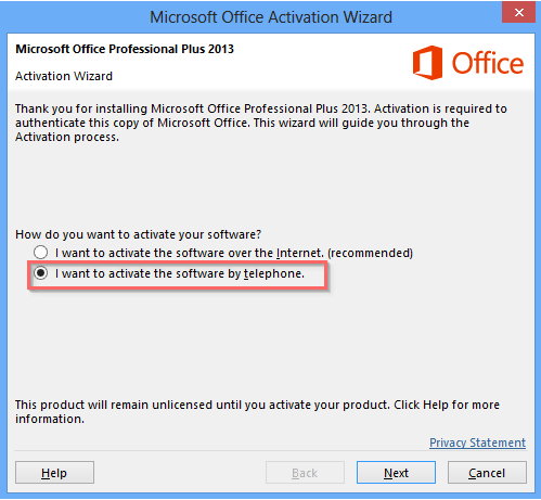 microsoft office 2013 activation wizard - activate by phone