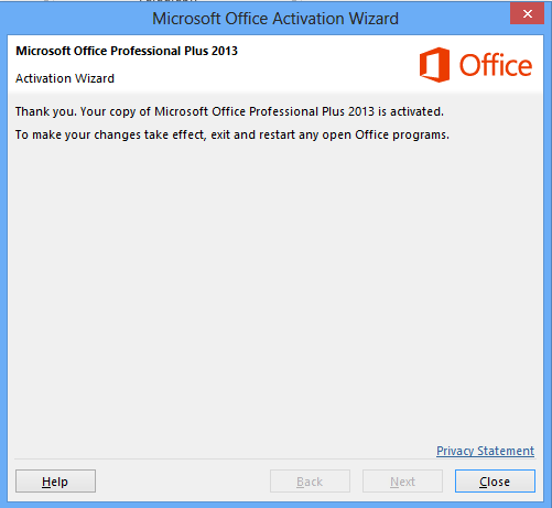 successful activation of microsoft office 2013 plus