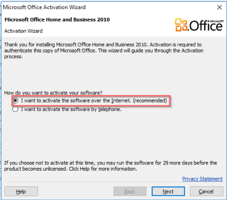 ms office will not accept activation key