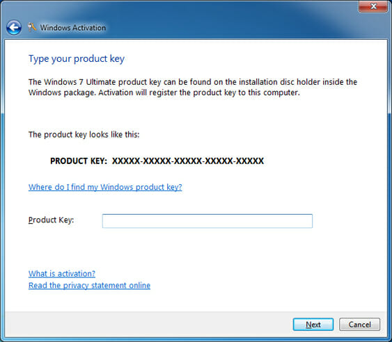 entering windows 7 product key