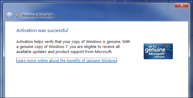 windows 7 professional activation successful