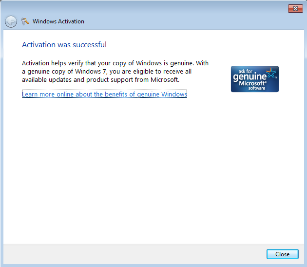 windows activation by phone successful