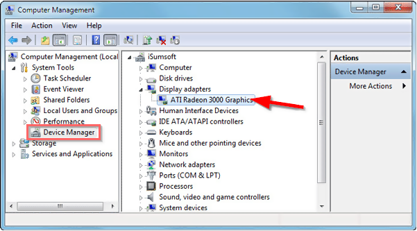 device manager - find Display Adaptors