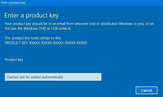 entering windows 10 product key
