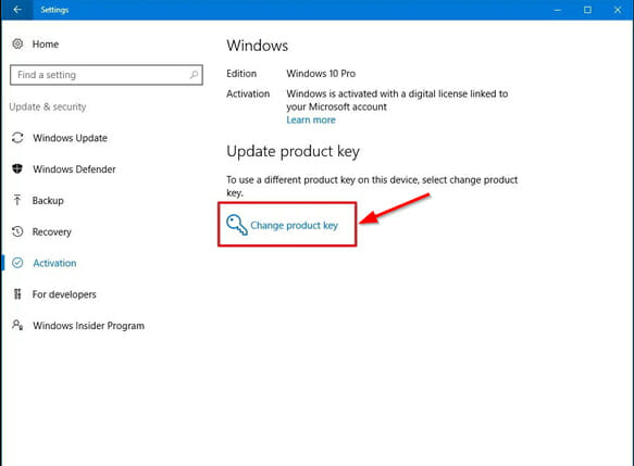 windows 10 product key activation