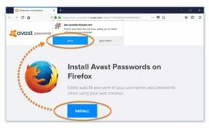 avast pasword manager - firefox addon
