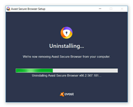 unistalling avast secure browser
