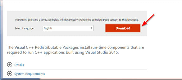 download Visual C++ Redistributable for Visual Studio 2015