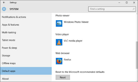 windows 10 default app choices