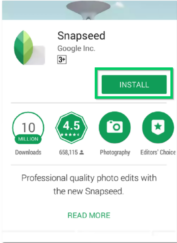 search snapseed on Google Play Store