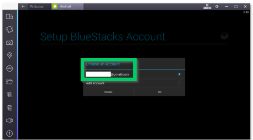 setup bluestacks account