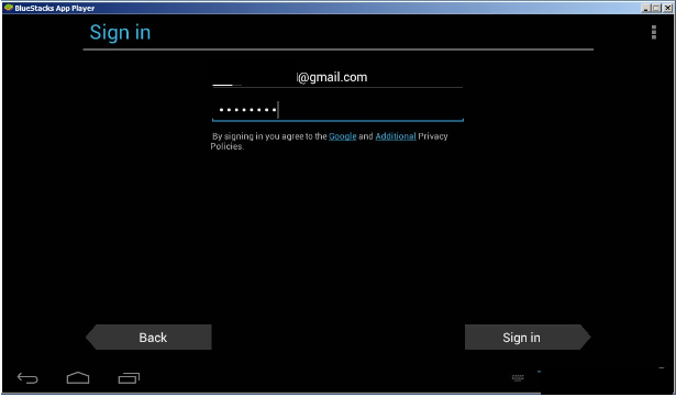 sign in to bluestacks software