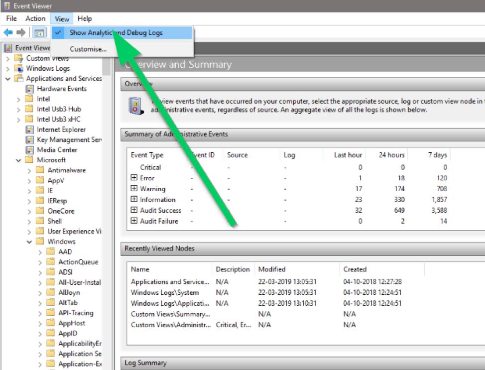 view analytics and debug logs