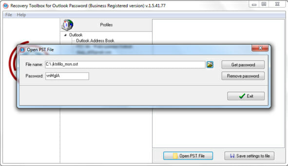 recover account password in Microsoft Outlookwith toolbox
